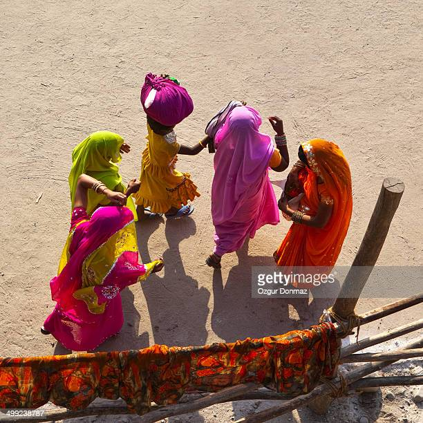 Indian women in colorful dresses