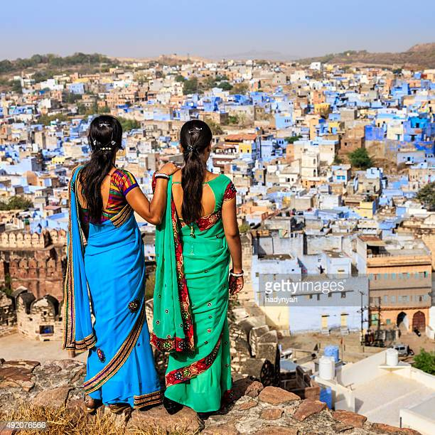 Indian women looking at the Blue City of Jodhpur, India