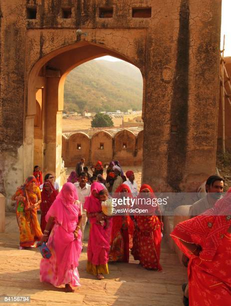 Indian women tourists visit the Fort Amber Amber Palace in Jaipur India on January 08 2008
