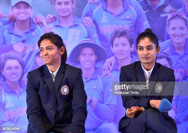 Indian Women's Cricket team captain Mithali Raj and Harmanpreet Kaur during the felicitating event on July 27 2017 in New Delhi India Mithali Raj led...