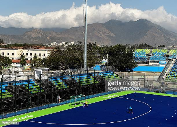 Indian women's hockey goalkeeper Savita takes part in a training session at the Olympic Hockey Centre in Rio de Janeiro on August 2 ahead of the 2016...