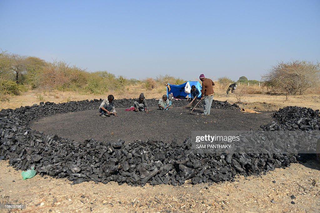 Indian workers spread charcoal made by burning local bawal wood near Khanderaopura village of Kadi Taluka, some 40 kms. from Ahmedabad, on January 19, 2013. Wood charcoal as a source of fuel and warmth is in high demand across many parts of India during the winter season. AFP PHOTO / Sam PANTHAKY