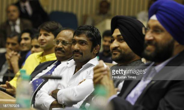Indian wrester Yogeshwar Dutt and hockey player Sandeep Singh during special session on Ethics and Integrity in Sports Need for a Law and Role of CBI...