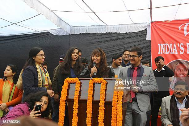 Indian wrestler Geeta Phogat during the centennial celebrations at Ramjas College Delhi University on January 12 2017 in New Delhi India Colourful...