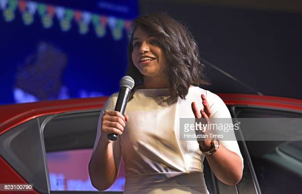 Indian wrestler Sakshi Malik addresses media during the launch of new Datsun RediGo with one litre petrol engine on July 26 2017 in New Delhi India...