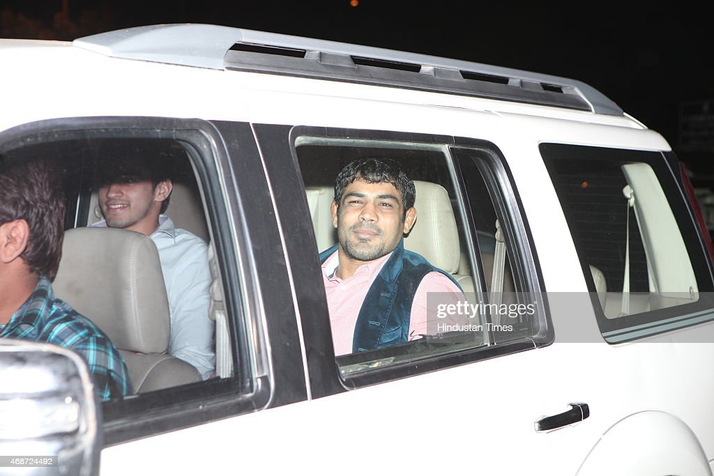 Indian wrestler <a gi-track='captionPersonalityLinkClicked' href=/galleries/search?phrase=Sushil+Kumar&family=editorial&specificpeople=703954 ng-click='$event.stopPropagation()'>Sushil Kumar</a> arrives to attend the wedding ceremony of Indian cricketer <a gi-track='captionPersonalityLinkClicked' href=/galleries/search?phrase=Suresh+Raina&family=editorial&specificpeople=542210 ng-click='$event.stopPropagation()'>Suresh Raina</a> at Leela Palace Hotel on April 3, 2015 in New Delhi, India. The 28-year-old Raina is set to tie the nuptial knot tonight with fiancee Priyanka in a private ceremony.