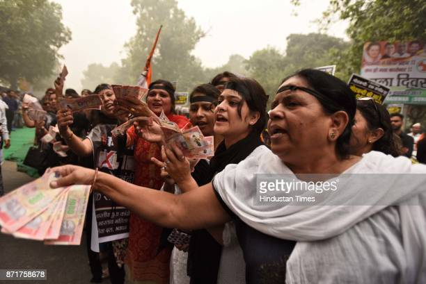 Indian Youth Congress observed Black Day in protest against demonitisation on its first anniversary at Raisina Road on November 8 2017 in New Delhi...