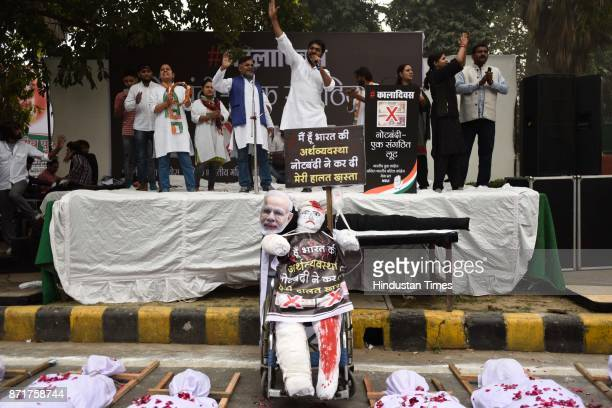 Indian Youth Congress observed Black Day on the first anniversary of demonitisation at Raisina Road on November 8 2017 in New Delhi India As the...