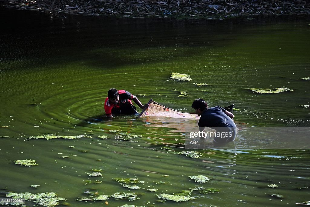 Indian youth fish with a net at Soraon Village on the outskirts of Allahabad on March 31 2014 AFP PHOTO/SANJAY KANOJIA