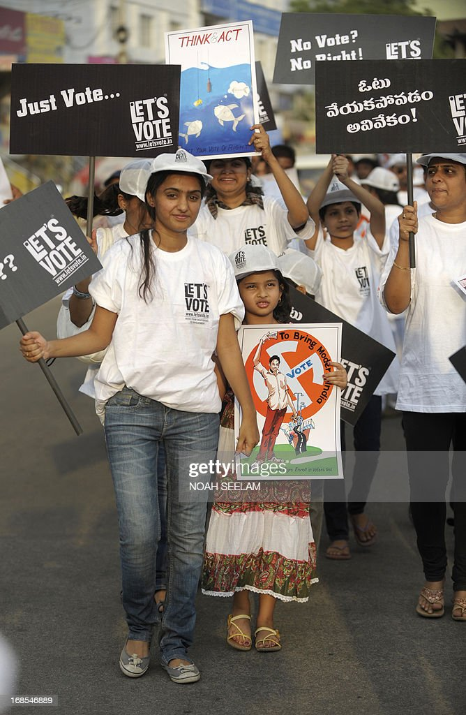 Indian youth hold placards during a 'Lets Vote' awareness campaign in Hyderabad on May 11, 2013. The 'Let's Vote' campaign aims to raise awareness among urban youth to participate in the voting process gearing up for the general elections 2014. AFP PHOTO/Noah SEELAMl
