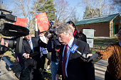 Indiana Attorney General Greg Zoeller speaks to the media as he leaves a demonstration at Karst Farm Park on March 31 2015 in Bloomington Indiana...