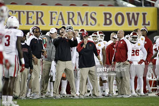Indiana defensive coordinator Mark Hagen and head coach Tom Allen set the defense at the Foster Farms Bowl between the Indiana Hoosiers and Utah Utes...