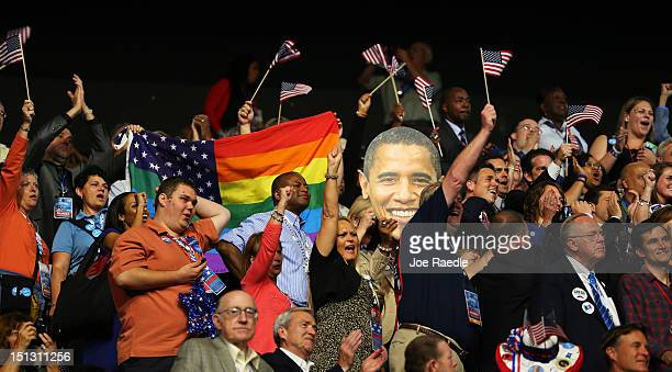Indiana delegates cheer during roll call during day two of the Democratic National Convention at Time Warner Cable Arena on September 5 2012 in...