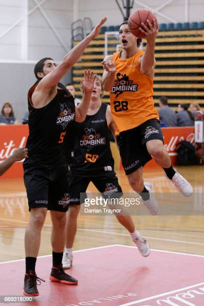 Indiana Faithfull drives to the basket during the NBL Combine 2017/18 at Melbourne Sports and Aquatic Centre on April 17 2017 in Melbourne Australia