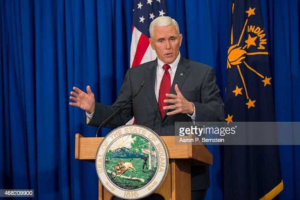 Indiana Gov Mike Pence speaks during a press conference March 31 2015 at the Indiana State Library in Indianapolis Indiana Pence spoke about the...
