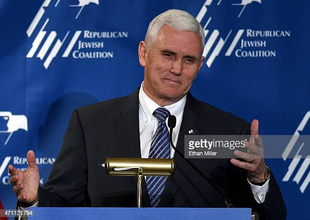 Indiana Gov Mike Pence speaks during the Republican Jewish Coalition spring leadership meeting at The Venetian Las Vegas on April 25 2015 in Las...