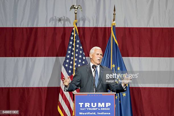 Indiana Governor Mike Pence introduces Republican presidential candidate Donald Trump at the Grand Park Events Center on July 12 2016 in Westfield...