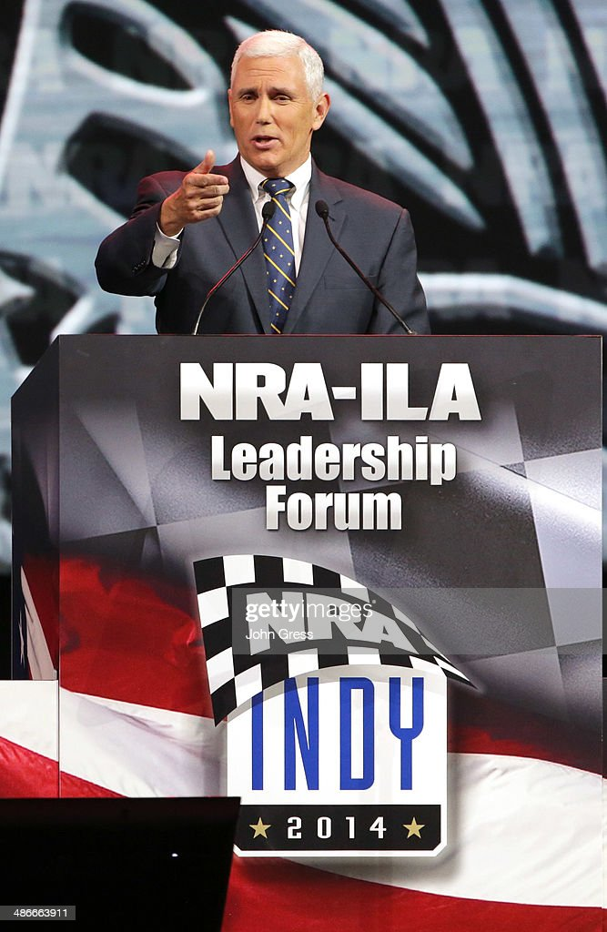 Indiana Governor Mike Pence speaks during the National Rifle Association Annual Meeting Leadership Forum on April 25 2014 in Indianapolis Indiana The...