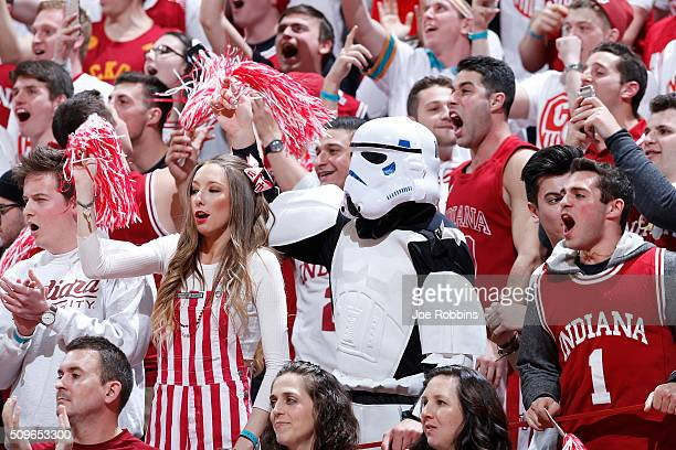 Indiana Hoosiers fans cheer against the Iowa Hawkeyes in the first half of the game at Assembly Hall on February 11 2016 in Bloomington Indiana