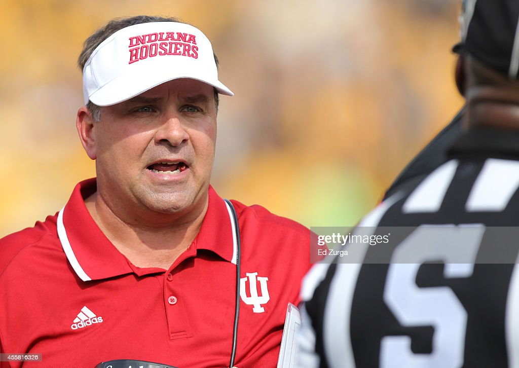 Indiana Hoosiers head coach Kevin Wilson talks with an official in the second quarter during a game against the Missouri Tigers at Memorial Stadium on September 20, 2014 in Columbia, Missouri.