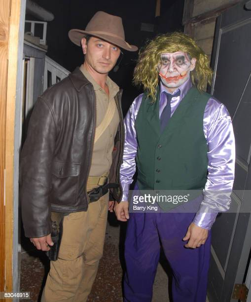 Indiana Jones and The Joker spoof in 'The Hanging' as Actress/Comic JillMichele Melean attends Knott's Scary Farm's 36th Annual Haunt at Knott's...
