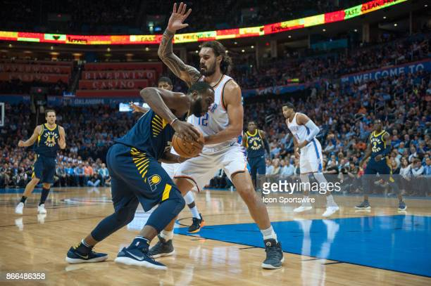 Indiana Pacers Center Al Jefferson making his move towards the basket while Oklahoma City Thunder Center Steven Adams plays defense during an NBA...