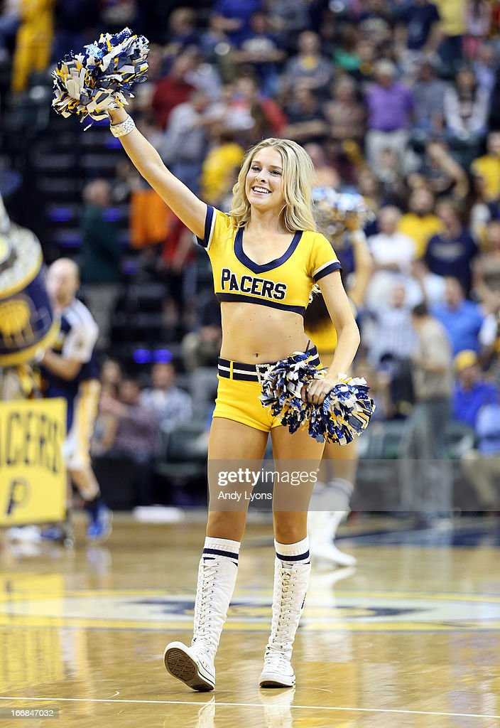 A Indiana Pacers cheerleader performs during the game against the Philadelphia 76ers at Bankers Life Fieldhouse on April 17, 2013 in Indianapolis, Indiana.NOTE