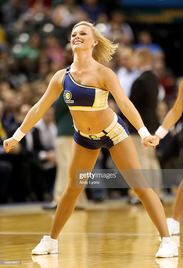 A Indiana Pacers cheerleader performs during the NBA game against the Toronto Raptors at Bankers Life Fieldhouse on November 13, 2012 in Indianapolis, Indiana.