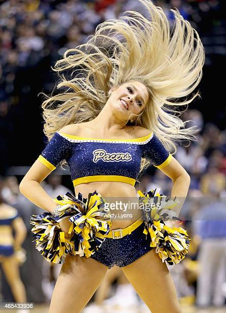 Indiana Pacers cheerleaders perform during the game against the Chicago Bulls at Bankers Life Fieldhouse on March 6 2015 in Indianapolis Indiana USER...