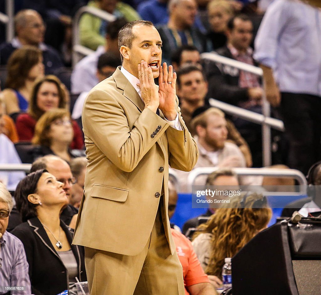 Indiana Pacers coach Frank Vogel reacts to play in first-quarter action in an NBA game against the Orlando Magic at the Amway Center on Wednesday, January 16, 2013, in Orlando, Florida.