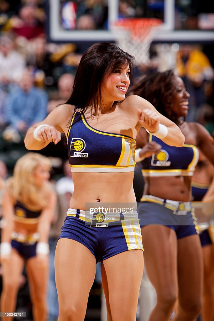 Indiana Pacers dancers perform during a game against the Toronto Raptors on November 13, 2012 at Bankers Life Fieldhouse in Indianapolis, Indiana.