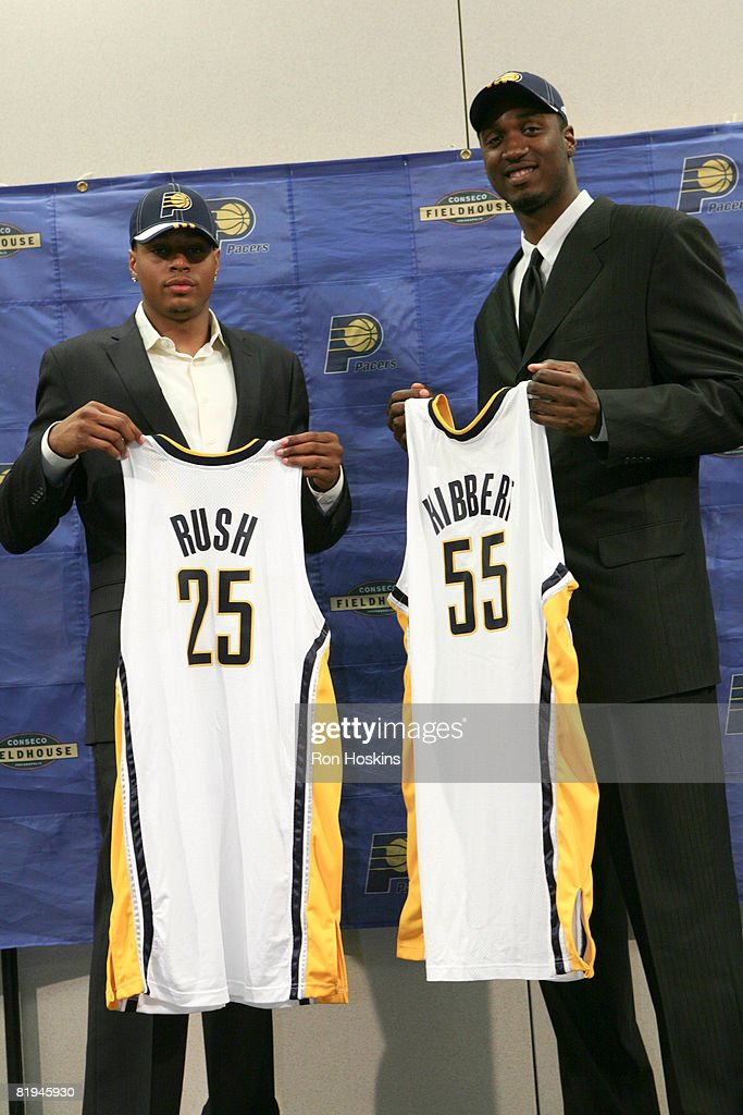 Indiana Pacers first round draft picks Brandon Rush (L) and Roy Hibbert (R) are introduced to the media at Conseco Fieldhouse on July 15, 2008 in Indianapolis, Indiana.
