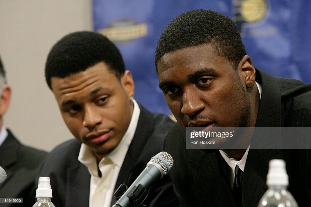 Indiana Pacers first round draft picks Roy Hibbert (R) and Brandon Rush speak to the media at Conseco Fieldhouse on July 15, 2008 in Indianapolis, Indiana.