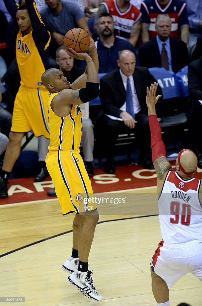 Indiana Pacers forward David West (21) hits a jump shot over Washington Wizards forward Drew Gooden (90) in the third quarter of Game 3 of the NBA Eastern Conference semifinals at the Verizon Center in Washington, D.C., Friday, May 9, 2014. The Pacers defeated the Wizards, 85-63.