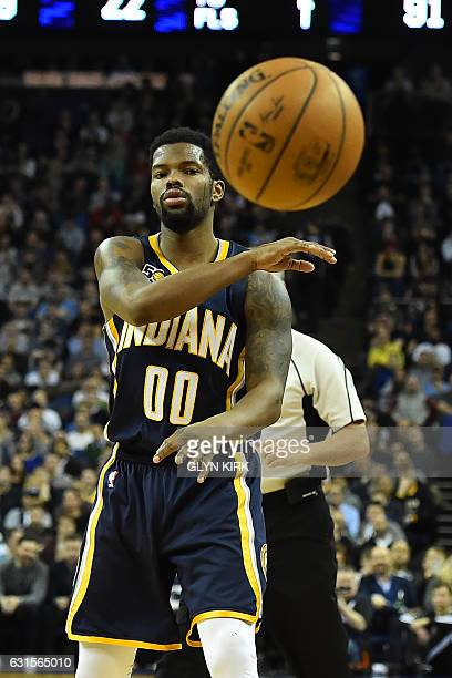Indiana Pacers' guard Aaron Brooks passes the ball during the NBA Global Game London 2017 basketball game between Indiana Pacers and Denver Nuggets...