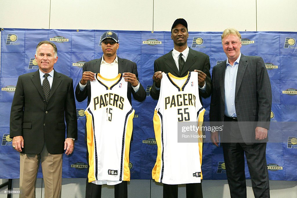 Indiana Pacers head coach Jim O'Brien, first round picks Brandon Rush and Roy Hibbert and president of the basketball operations Larry Bird attend a news conference at Conseco Fieldhouse on July 15, 2008 in Indianapolis, Indiana.
