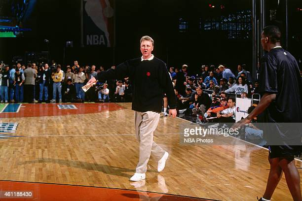 Indiana Pacers head coach Larry Bird instructs during NBA AllStar Practice on February 8 1998 as part of 1998 NBA AllStar Weekend at Madison Square...