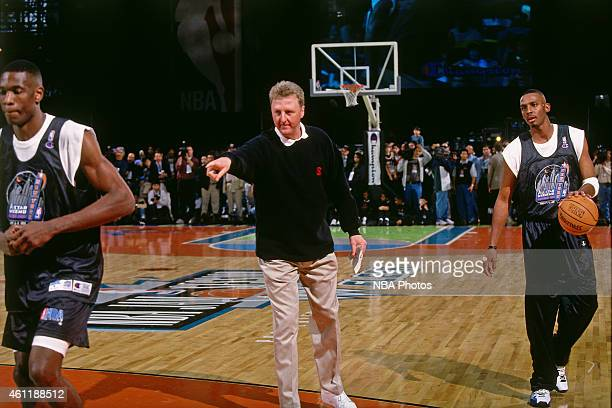 Indiana Pacers head coach Larry Bird points during NBA AllStar Practice on February 8 1998 as part of 1998 NBA AllStar Weekend at Madison Square...