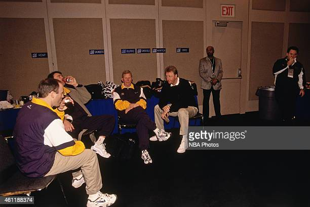 Indiana Pacers head coach Larry Bird talks with the staff during NBA AllStar Practice on February 8 1998 as part of 1998 NBA AllStar Weekend at...