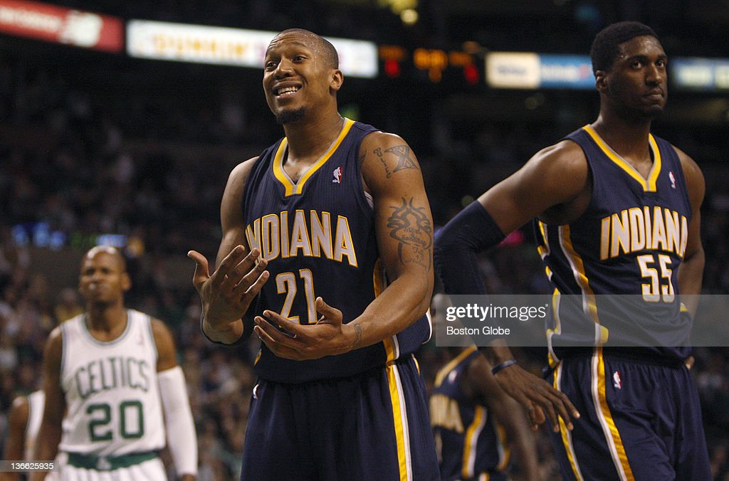 Indiana Pacers power forward David West questions a call during the first half Boston Celtics vs Indiana Pacers at TD Garden