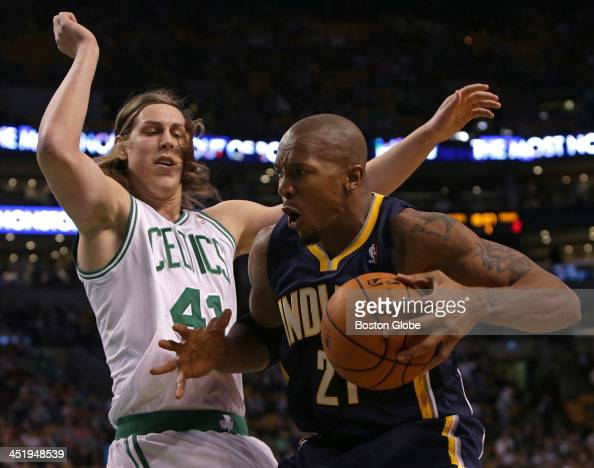 Indiana Pacers power forward David West works against Boston Celtics center Kelly Olynyk in the first half The Boston Celtics take on the Indiana...