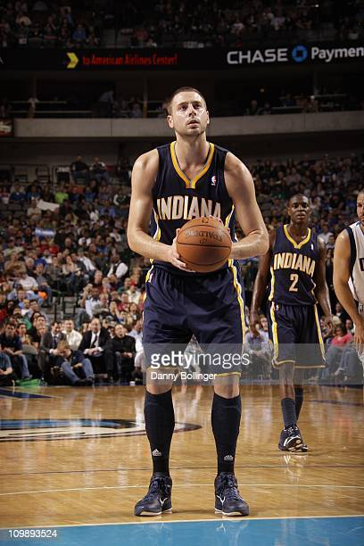 Indiana Pacers power forward Josh McRoberts shoots a free throw during a game against the Dallas Mavericks on March 4 2011 at the American Airlines...