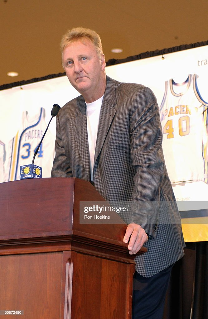 Indiana Pacers president of basketball operations Larry Bird unveils the team's new uniforms during the Pacers Media Day on October 3 2005 at Conseco...