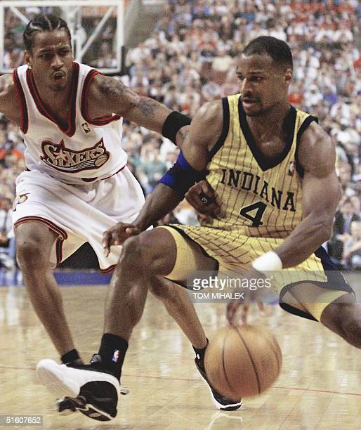 Indiana Pacers' Travis Best drives past Philadelphia 76ers' Allen Iverson during the second quarter of game three during round two of the 1999 NBA...