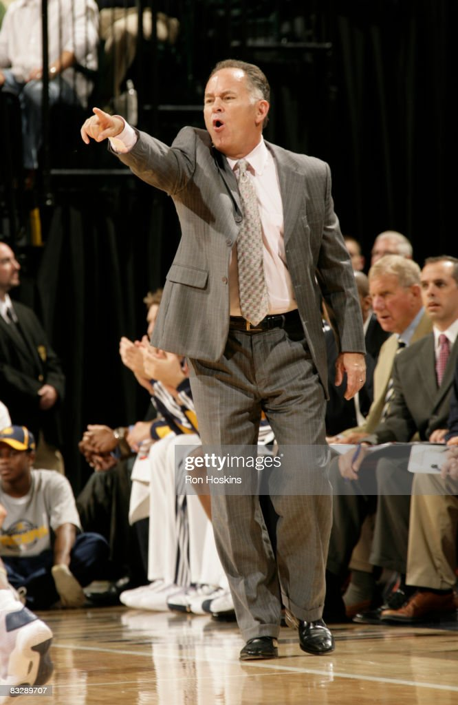 Indiana Paces head coach Jim O'Brien gives instructions to his team as they play the Dallas Mavericks at Conseco Fieldhouse on October 15 2008 in...