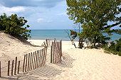 Indiana sand dunes on Lake Michigan's shoreline.