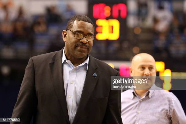 Indiana State Sycamores Athletic Director Sherard Clinkscales walks across the court during a timeout in the Missouri Valley Conference game against...