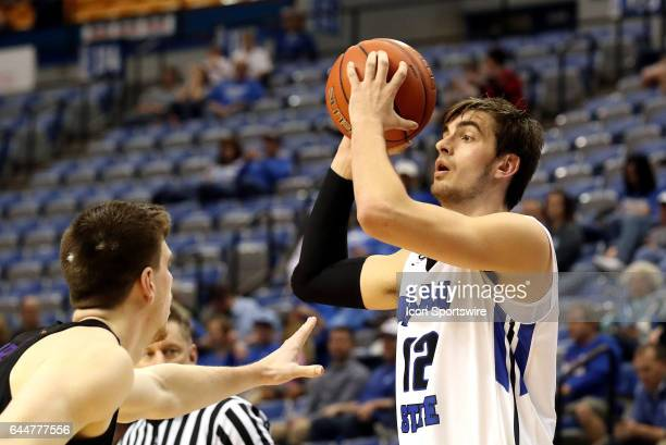 Indiana State Sycamores forward Niels Bunschoten holds on to the ball during the Missouri Valley Conference game against the Northern Iowa Panthers...