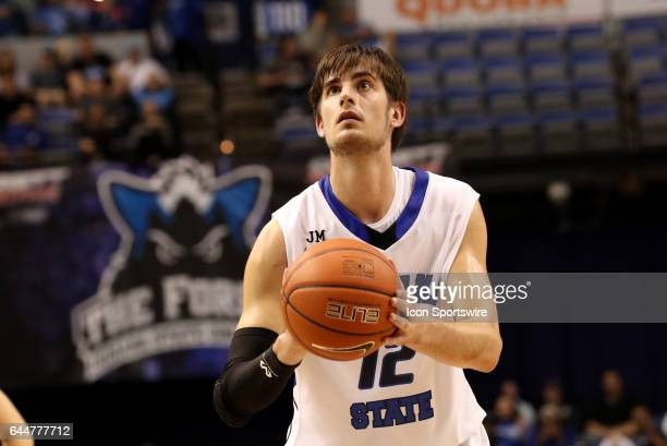 Indiana State Sycamores forward Niels Bunschoten shoots a free throw during the Missouri Valley Conference game against the Northern Iowa Panthers on...