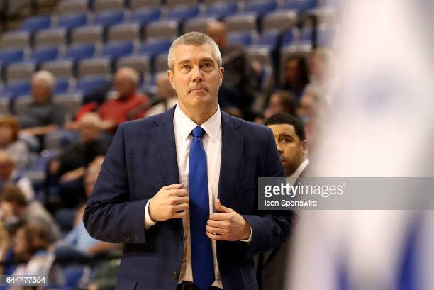 Indiana State Sycamores Head Coach Greg Lansing looks on during the Missouri Valley Conference game against the Northern Iowa Panthers on February 22...